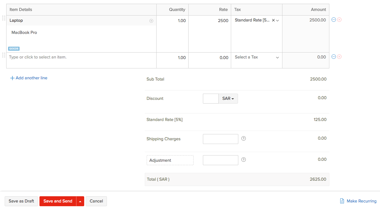 Creating New Invoice