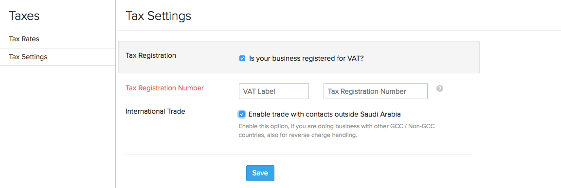 VAT Settings