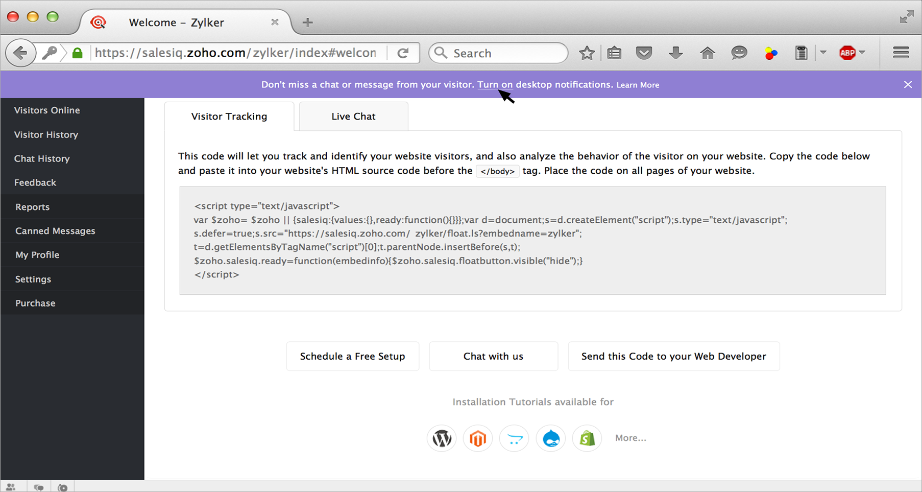 Enable desktop notification - Zoho SalesIQ