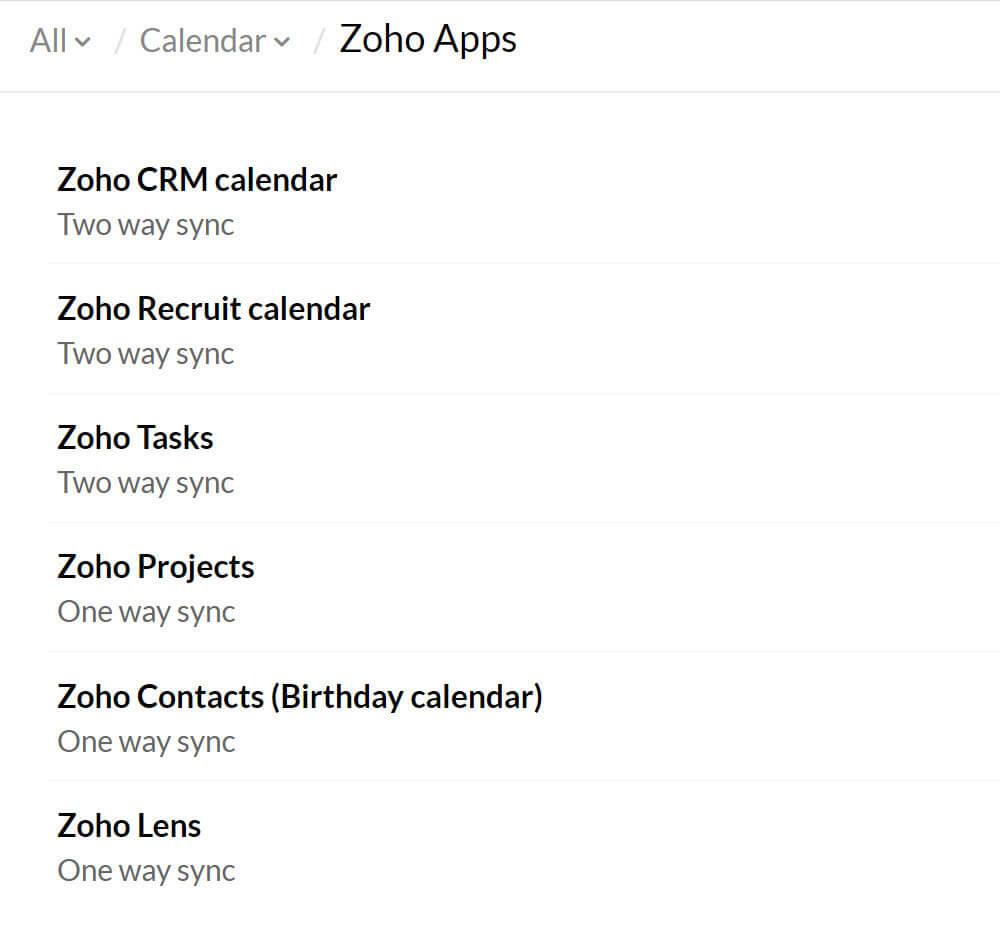 Zoho Calendar Integration In Zoho Anwendungen