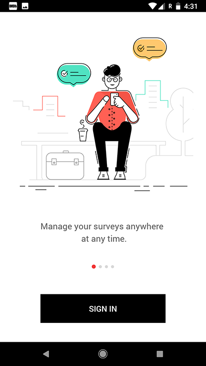 Zoho Survey android app sign in