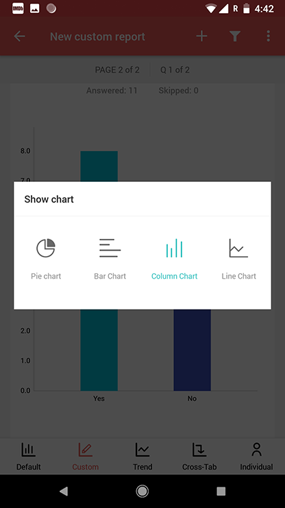 Survey android app show charts