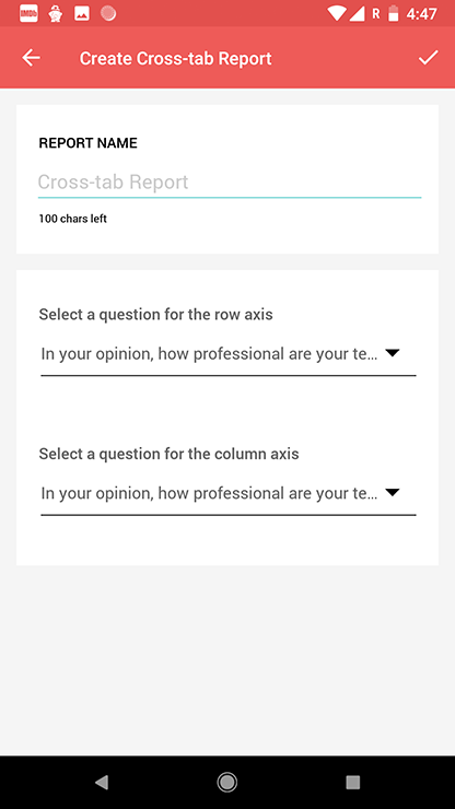 Survey android app create cross-tab report