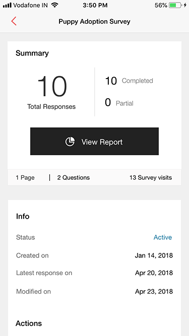 Survey iOS app summary