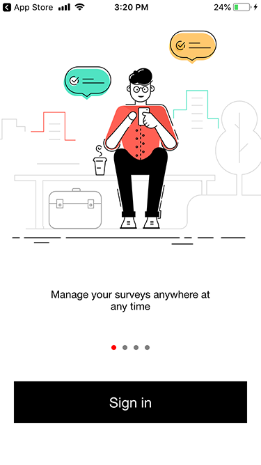 Zoho Survey iOS app sign in