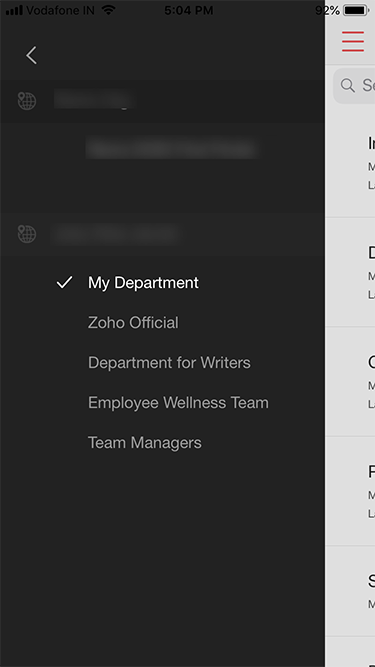 Zoho Survey iOS app departments