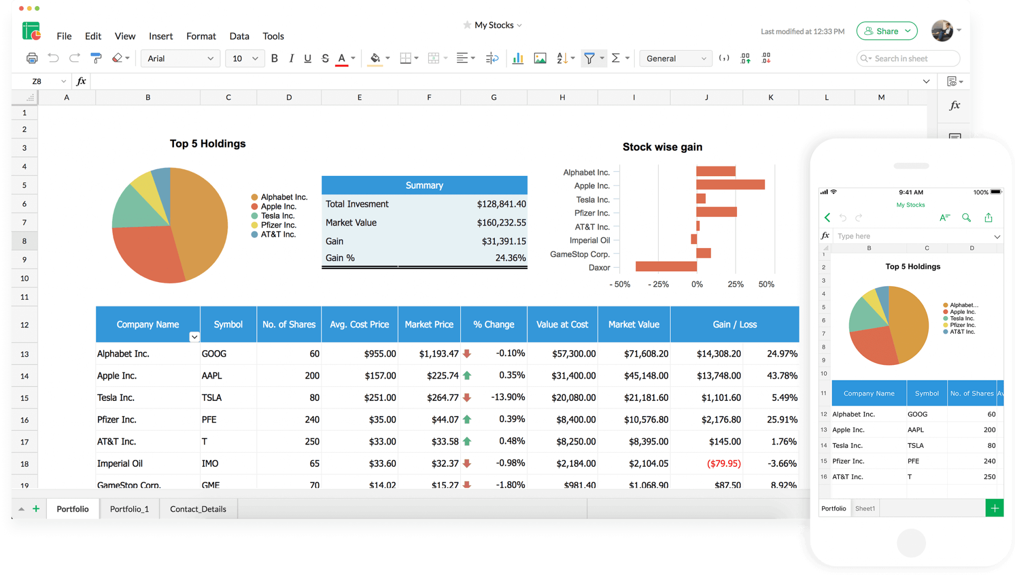 Zoho-Sheet-dashboard-webpage