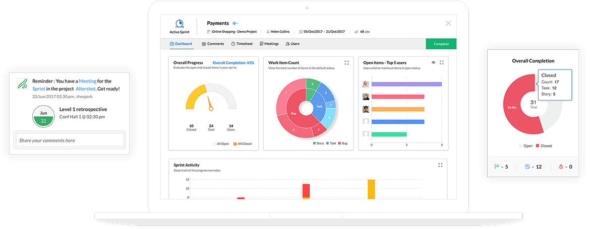 Dashboard of an online agile project management tool