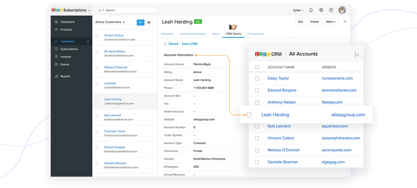 Understand customers better with Zoho Subscriptions and Zoho CRM