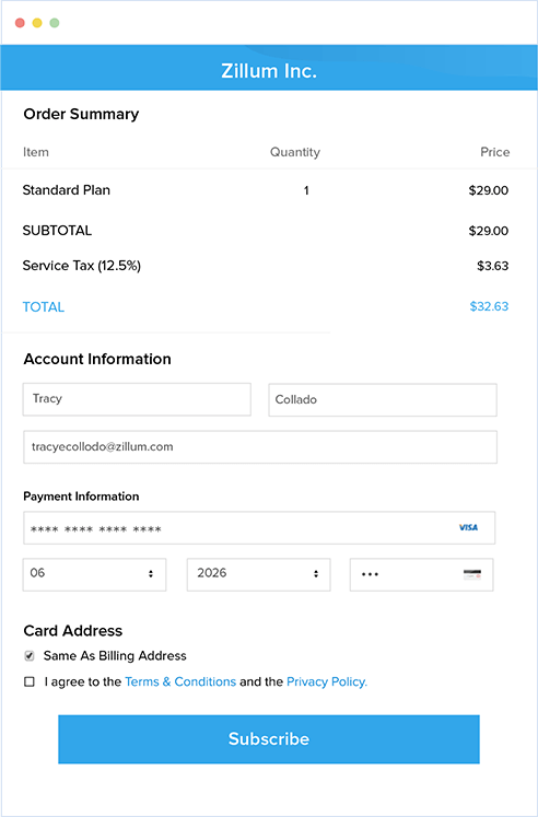 Receive payments via PCI-compliant hosted pages