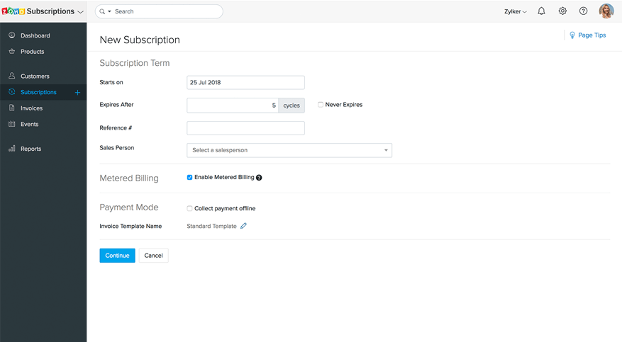 Metered billing in Zoho Subscriptions