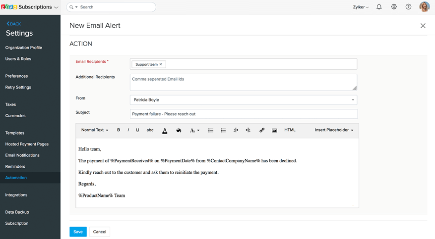 Edit and save the recipients and content of the email alert