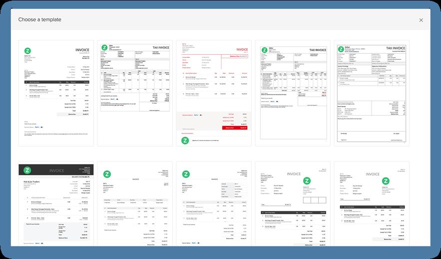 Multiple invoice templates