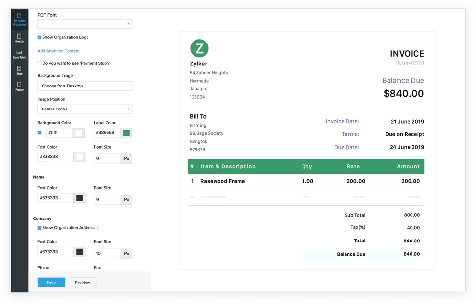Tailor and send beautiful invoices