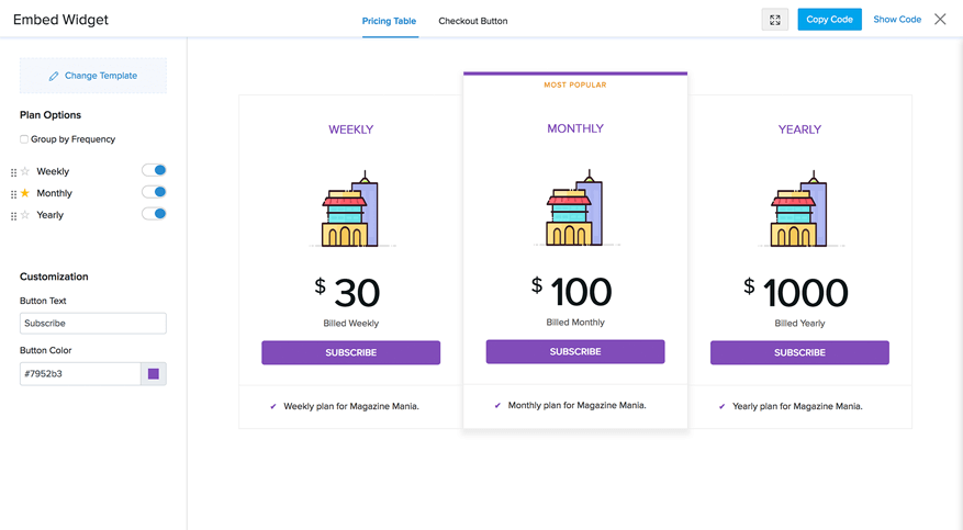 Pricing table widget customization