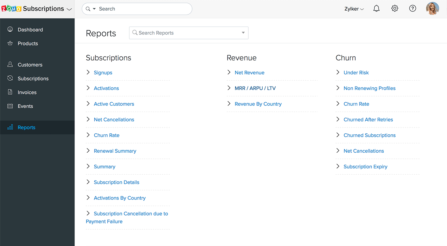 Reports related to subscriptions, revenue, and churn