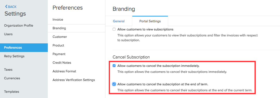 Cancel subscription enable option