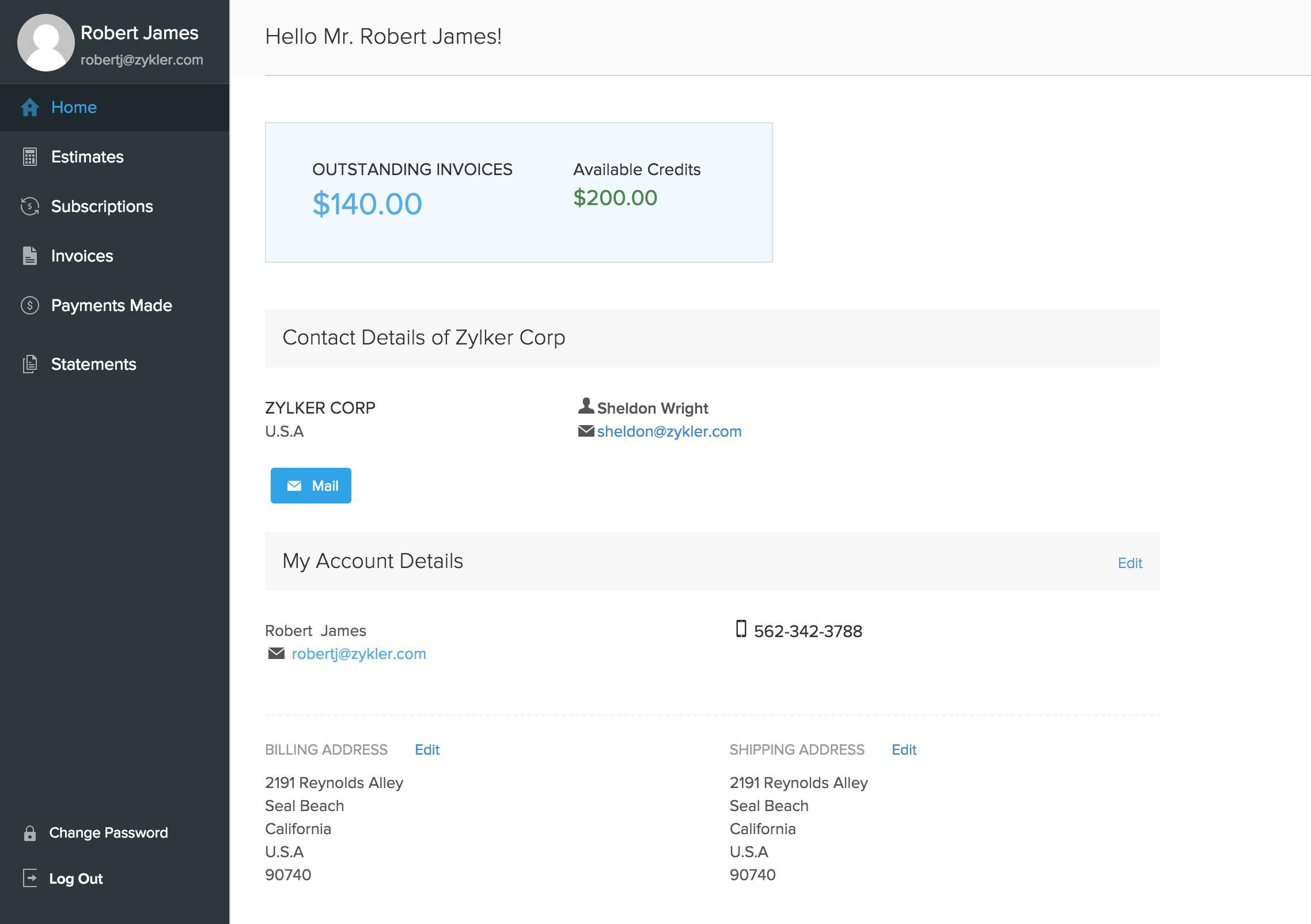 Dashboard Client Portal