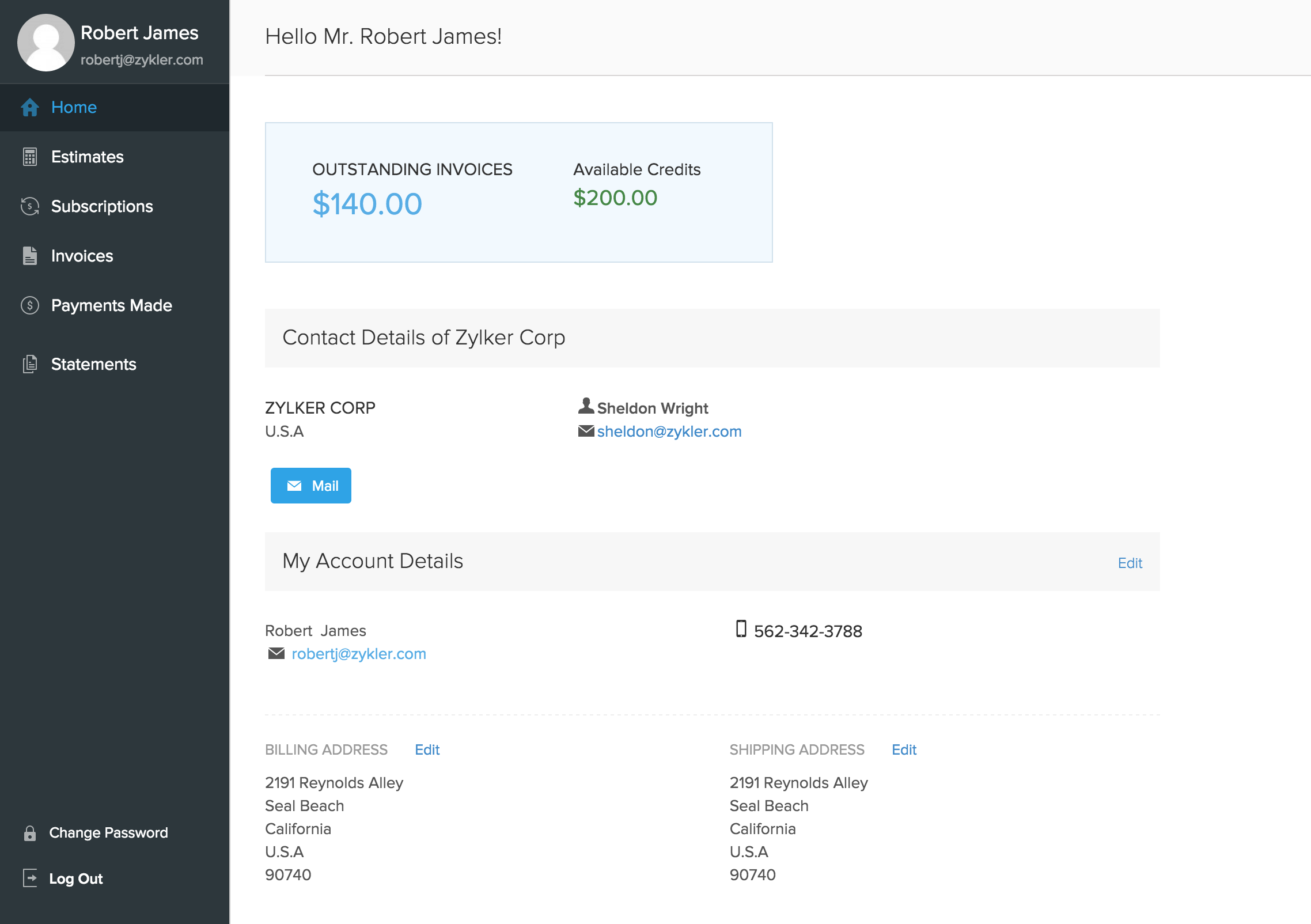 Dashboard Customer Portal