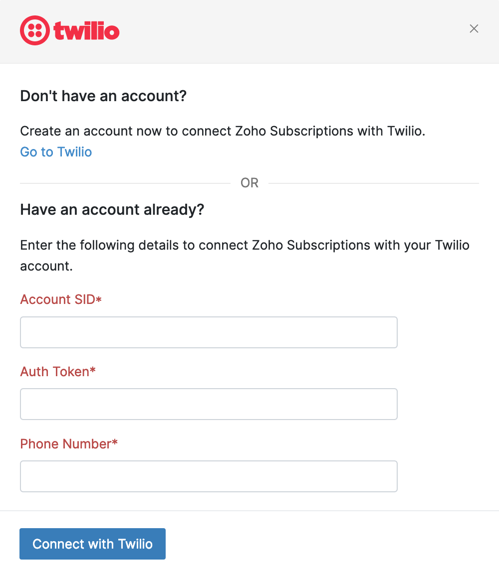 Twilio Enter Credentials