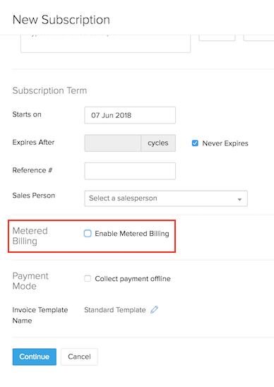 Enabling Metered Billing in Creation Page