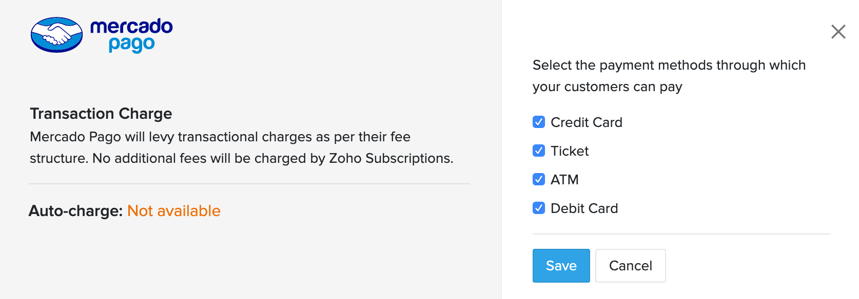 Mercado Pago Payment Options