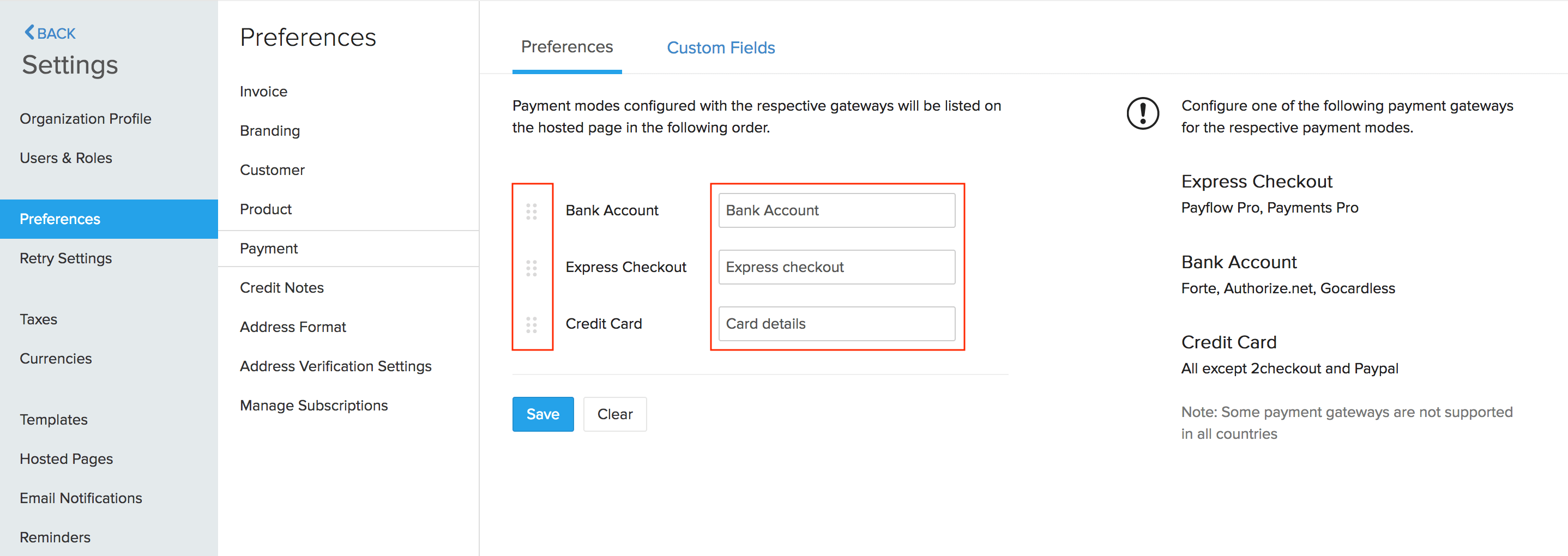 Payment Mode Preferences