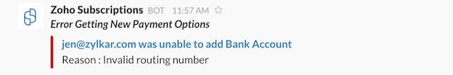 Error - New Bank account Added