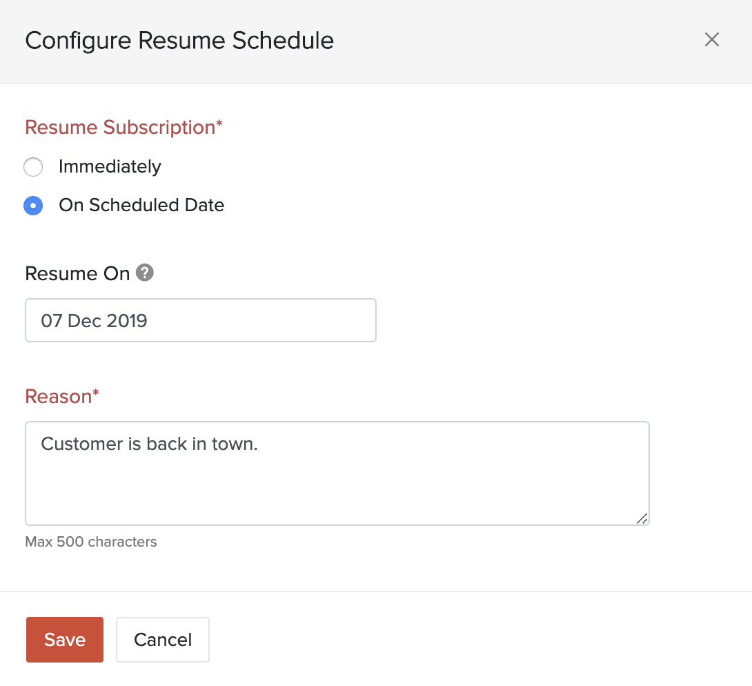 Configure Resume Schedule