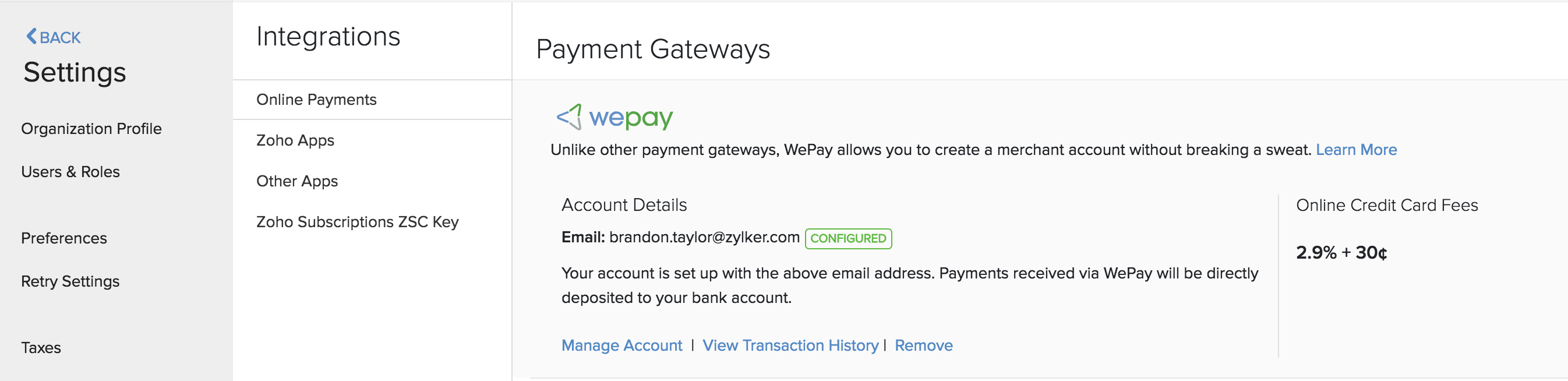 Link bank account WePay