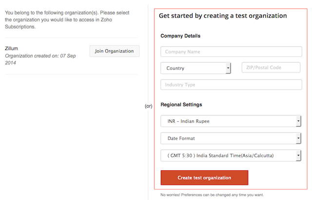 Create a test organization