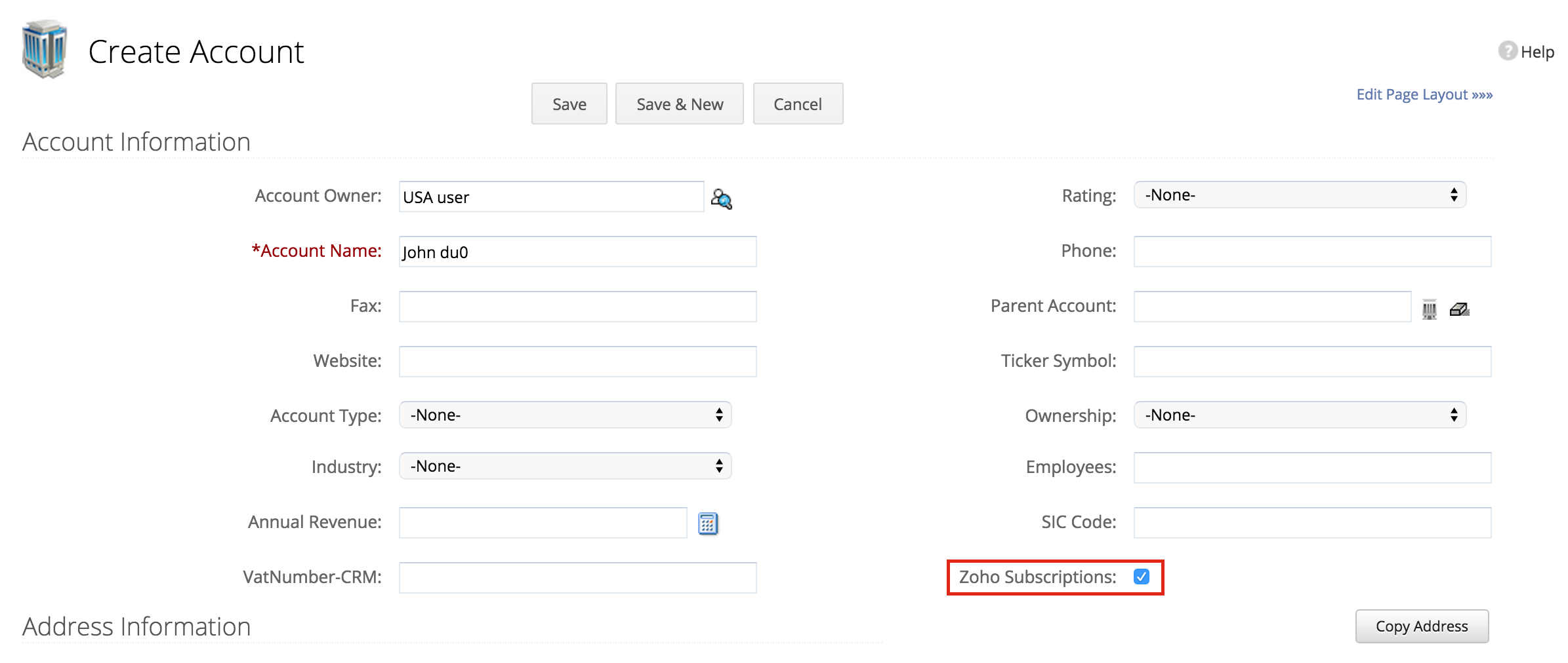 Check box created is displayed for accounts/contacts