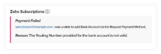 Error while bank account added