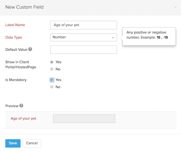 Customer Custom Field 1