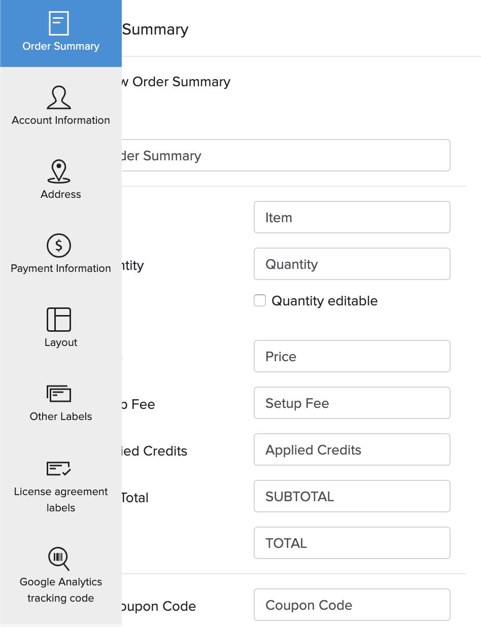 Hosted Payment Pages Sections
