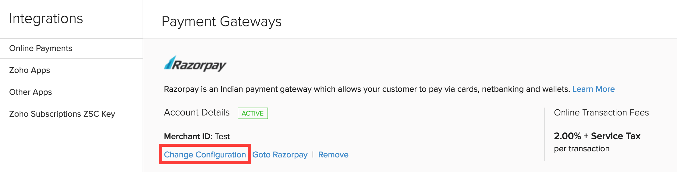 Update Razorpay Credentials