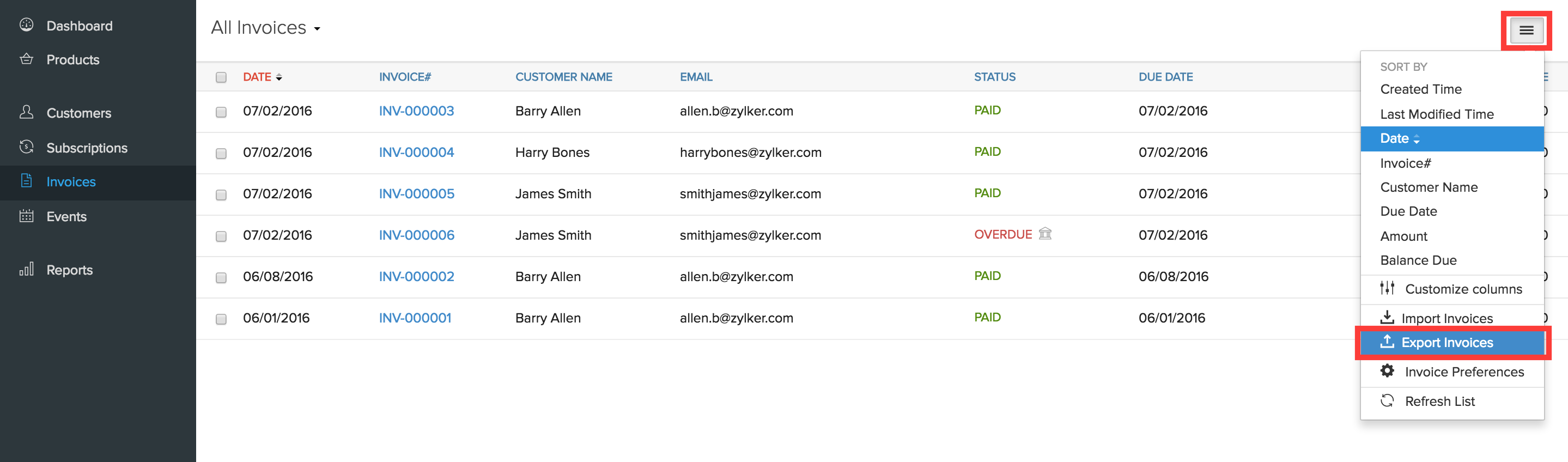 Export Invoices button