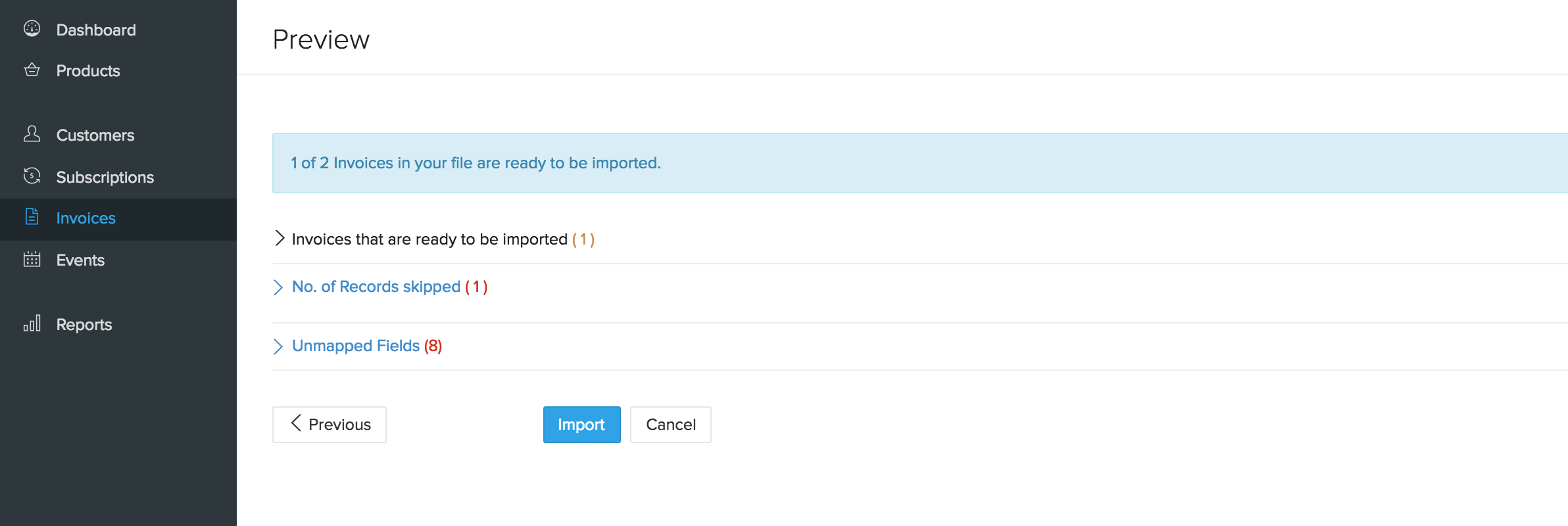 Import Invoices - Preview screen