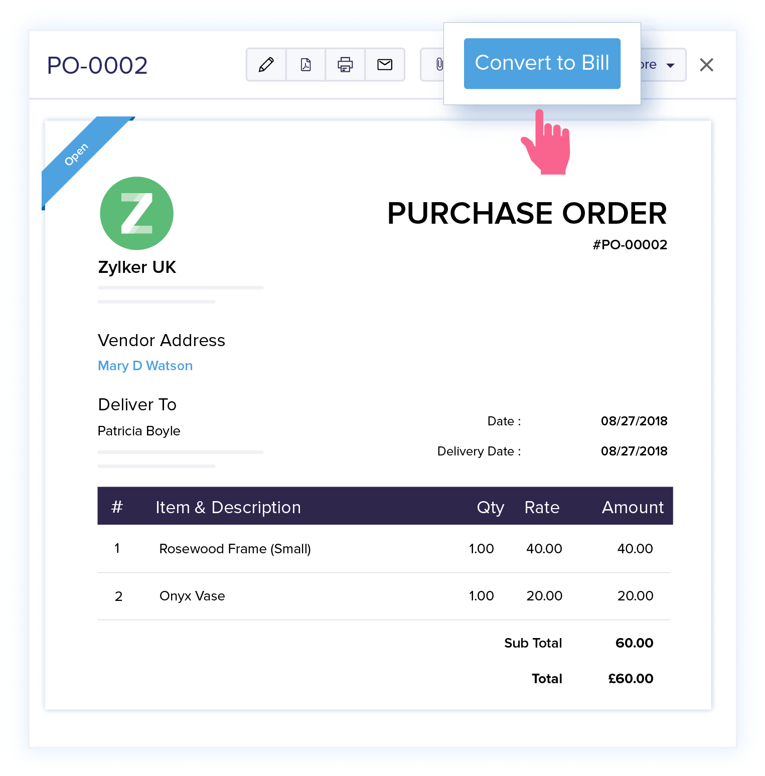 Create bills from purchase orders