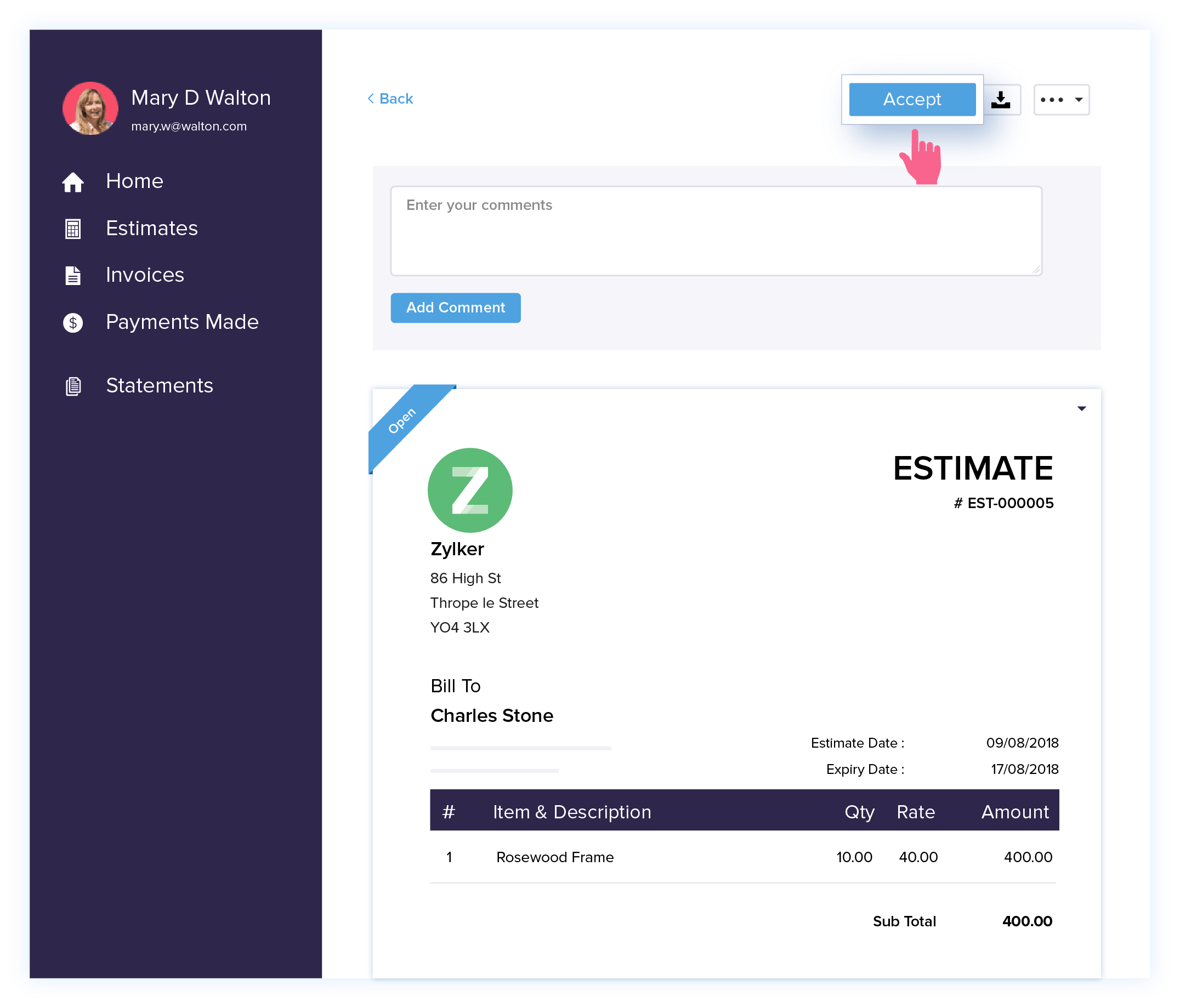 Estimate Confirmation - Estimate Management Software | Zoho Books