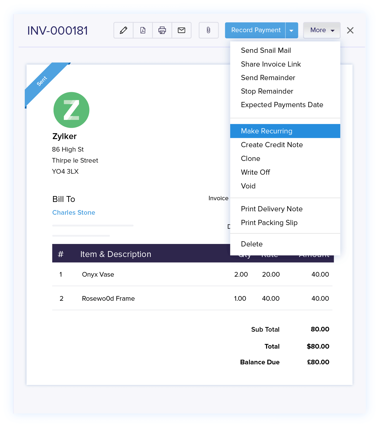 Recurring Invoices - Invoice Management | Zoho Books
