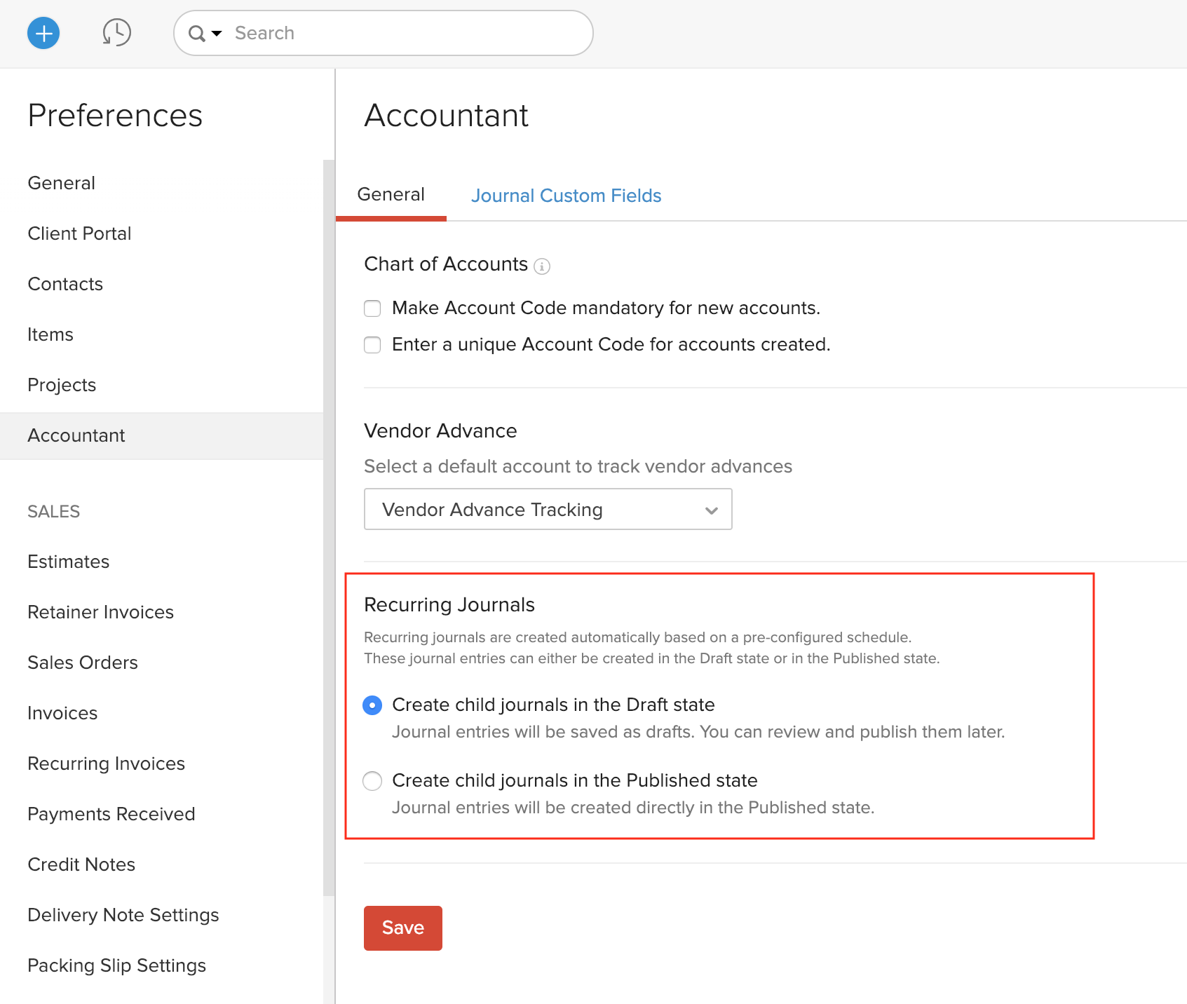 Configure Recurring Journals Settings