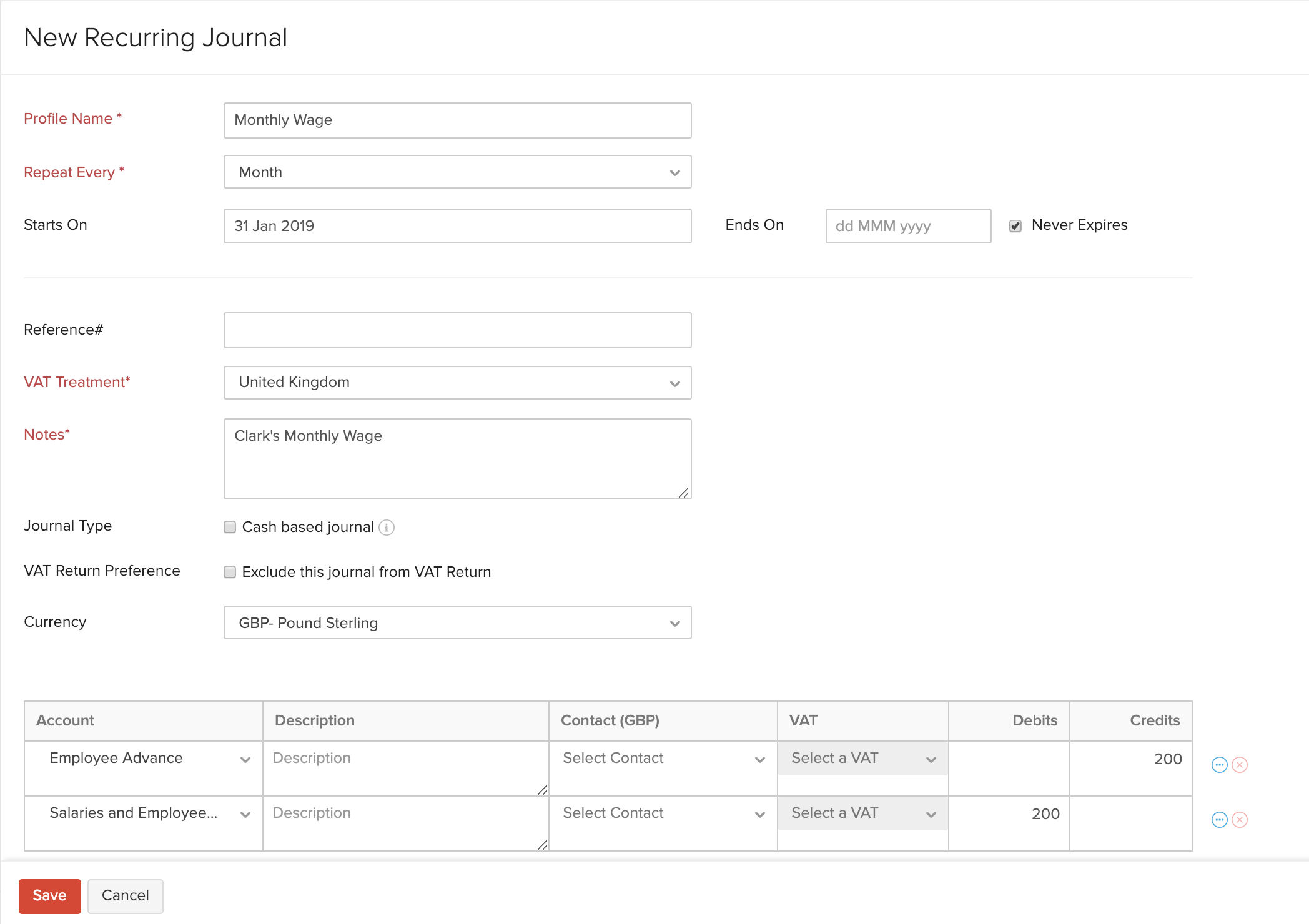 Create Recurring Journals