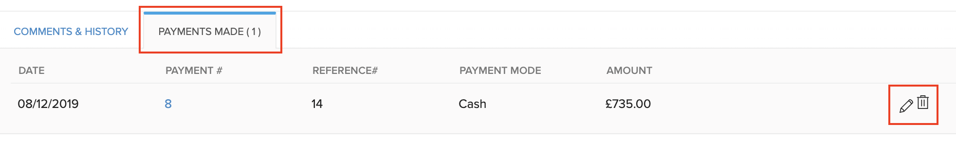 Payments Made Actions