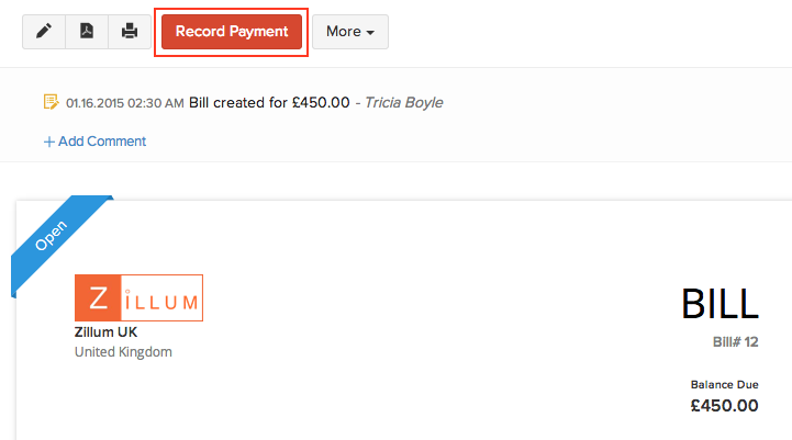 Recording a bill payment