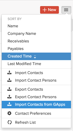 Import contacts from G Suite