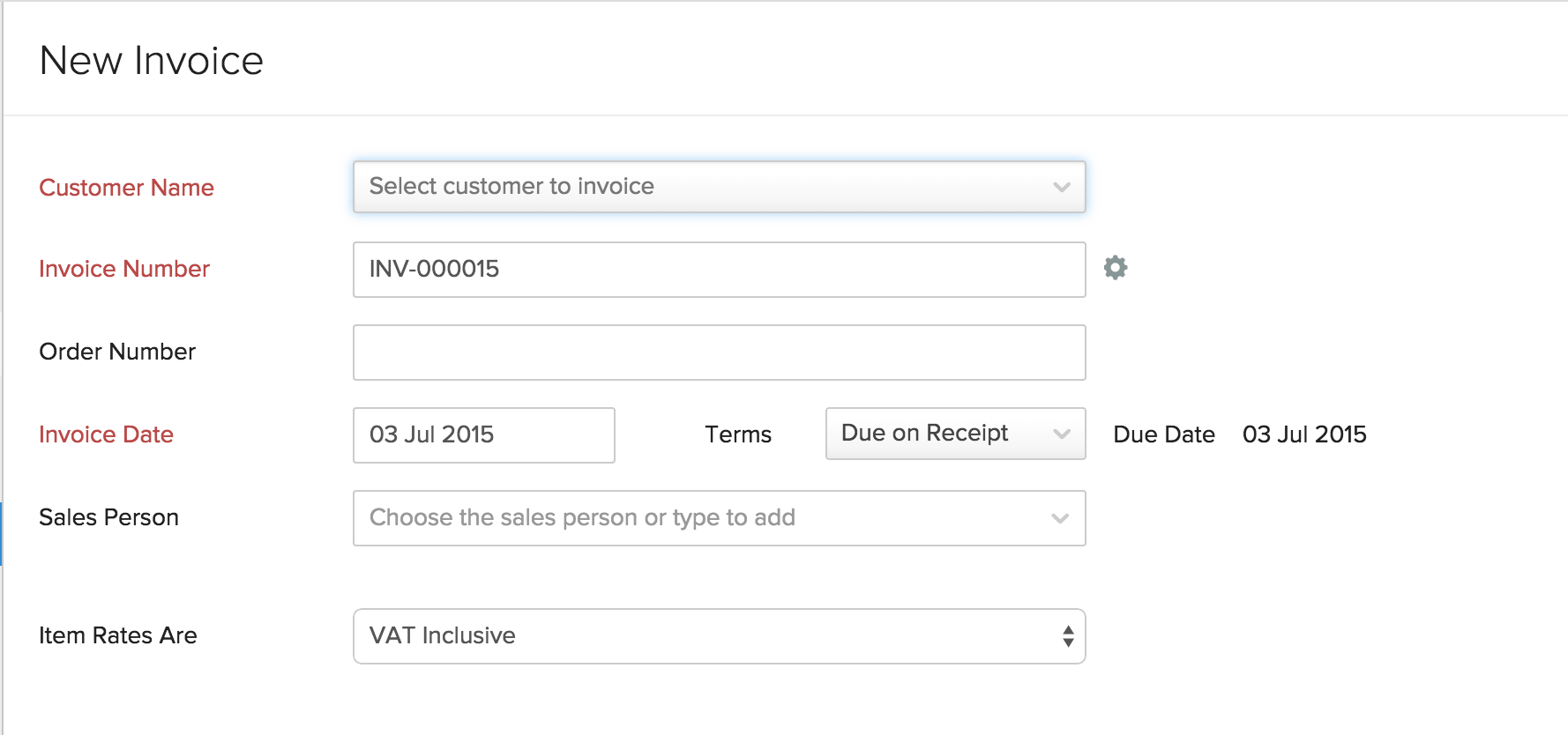 Creating New Invoice  Invoice Creation