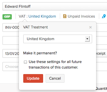 VAT treatment in Invoices