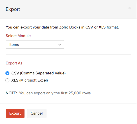 Item Export - pop-up