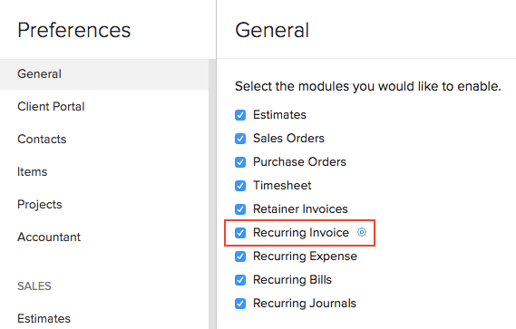 Enable Recurring Invoice
